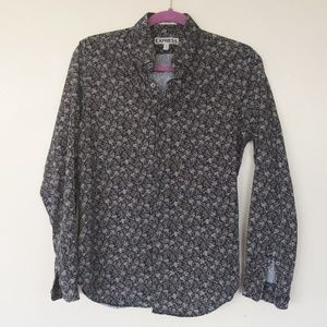 Express Men Bottom Down Fitted Shirt Floral Print